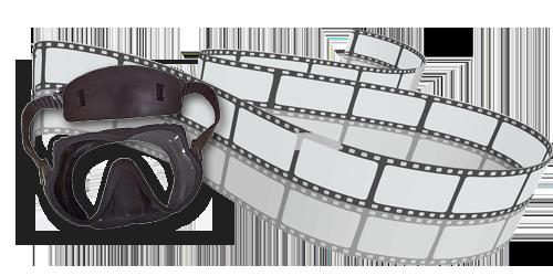 Filmbånd med en Scubapro Devil dykkermaske ved siden af